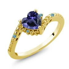 0.60 Ct Iolite and Swiss Blue Simulated Topaz 18K Yellow Gold Plated Silver Ring
