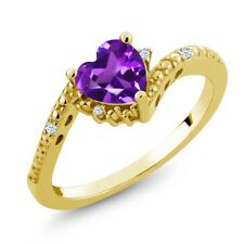0.69 Ct Purple Amethyst White Topaz 18K Yellow Gold Plated Silver Ring