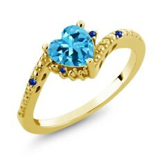 0.99 Ct Swiss Blue Topaz Blue Sapphire 18K Yellow Gold Plated Silver Ring