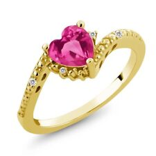 0.99 Ct Pink Mystic Topaz White Sapphire 18K Yellow Gold Plated Silver Ring