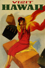 VISIT HAWAII TRAVEL FASHION WOMAN LUGGAGE AMERICAN TOURISM VINTAGE POSTER REPRO