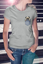 New WOMENS FITTED Funny PUG IN A POCKET Print T Shirt Tee Love Hipster Fashion