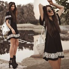 Sexy Womens Summer Boho Hippie Loose Evening Party Beach Casual Short Mini Dress