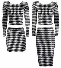 NEW LADIES BLACK WHITE DOGTOOTH TWO PIECE MIDI MINI CROP TOP SKIRT SET SIZE 6-12