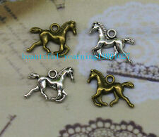 Free shipping 20/60pcs Retro Style alloy Double sided  horse Charms Pendant