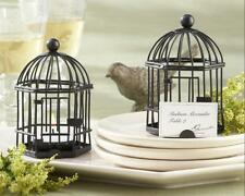 "Black Birdcage Tealight Luminaries Name Place Card Holders 4"" Tall with Candles"