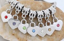 30pc 18KGP Bail W/Heart Crystal Bead Fit Charm Bracelet AA179