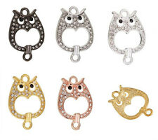 5pc Owl Shape Crystal Bead Charm Jewelry Link & Connector C0978