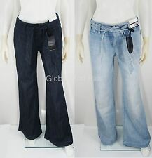 Denim Jeans Belted Trouser Wide Leg Flare Uptown Rise Zipper Fly New York & Co.