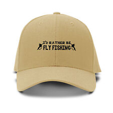 I`D Rather Be Fly Fishing Black Embroidered Adjustable Hat Baseball Cap