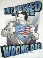 Big Dogs Tee Shirt They Messed Wrong Dog American Flag M L XL White Cotton NEW