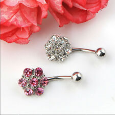New 1pcs Steel Rhinestones Flower Belly Button Navel Bar Ring Body Piercing