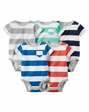 Carters Infant Boys' 5-Pack Wide Stripe Short-Sleeve Bodysuits NWT snap shirts