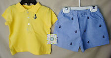 LITTLE ME 100% Cotton 2 pc Nautical Anchor Short Set BOY SIZES NWT