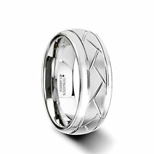 Domed Tungsten Carbide Ring with Crisscross Grooves and Brushed Finish - 8mm