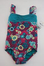 NWT Roxy Toddler Girls 3/3T 1 Pc Swimsuit Purple Teal Floral Ruffle