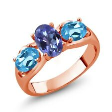 1.80 Ct Mystic Topaz Swiss Blue Topaz 18K Rose Gold Plated Silver Ring