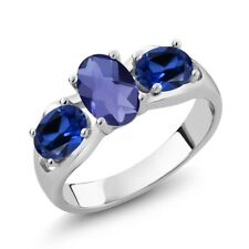 1.65 Ct Oval Checkerboard Blue Iolite Simulated Sapphire 14K White Gold Ring