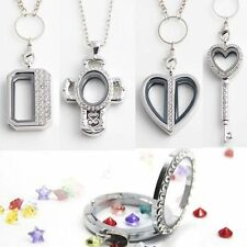 Love Heart Living Memory Glass Locket for Floating Charms Chain Necklace Pendant
