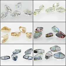 7.4x4.3mm/ 5pcs Faceted Glass Crystal Charm Loose Spacer Teardrop Triangle Beads