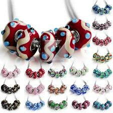 5pcs Murano Lampwork Glass Beads 14*7.5/15*7.5mm Fit European Charm Bracelet