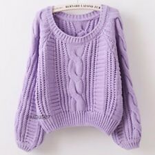 Women Loose Braided Cable Knitted Chunky Sweater Jumper Pullover Crop Crew Neck