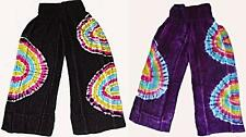 STUNNING COMFY WIDE LEG SOFT RAYON PANTS SIZE 8 TO 18 TIE DYE  BLACK PURPLE