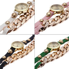 New Fashion Women Girl Retro PU Leather Bracelet Decoration Quartz Wrist Watch