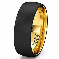Mens Wedding Band Black Tungsten Ring 8mm Gold Inside Matted Brushed Surface Do