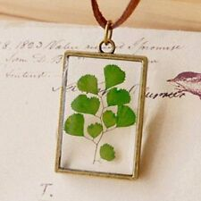 Real Plant Jewelry Resin Glass Necklace Botanical Pressed Flower Pendant Locket