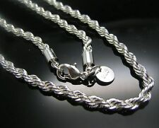 """Hot! 1pc 925 Sterling Silver 3mm thick twist rope chain necklace 18""""-24"""" U pick"""