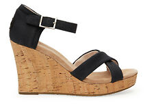 TOMS WOMENS STRAPPY WEDGE BLACK CANVAS / CORK NEW SLIP-ON SHOES SIZE 6-9