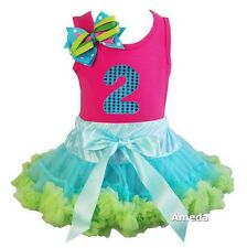 Blue Lime Pettiskirt Tutu Nubmer 2 Hot Pink Birthday Outfit