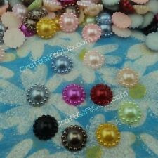 100 Sun Flower 12mm Pearl Bead Flat Back Wedding Table Decoration 10 colors