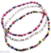 ANKLET Plain Design with Glass Seed Beads on Elastic - 9 Colour Choices 5 Sizes