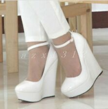 Womens Leather Wedge Plus Size Ankle Straps Wedge Pump Round Toe High Heel Shoes
