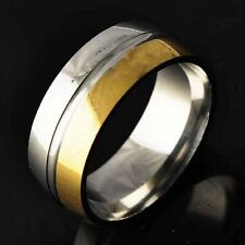stainless steel solid gold Filled mens wedding band rings size 8 9 10 11