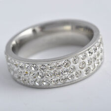Engagement Wedding Stainless Steel 3-Row CZ Ring,size 6 7 8 9,P0855-P0858