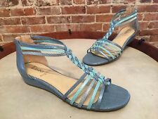 Enzo Angiolini Nifties Blue & Aqua Braided T-Strap Wedge Sandals New