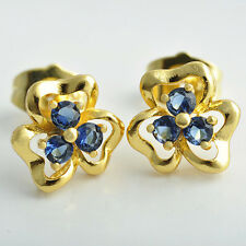 Flower Earrings Stud 9K Gold Filled With Blue Red Cubic Zirconia