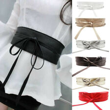 Women Lady Thin Skinny Waistband Belt PU Leather Narrow 8.5cm Wide