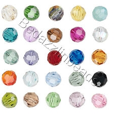 6 Swarovski Crystal 6mm Faceted Round Beads With Facets 5000 Series Colors L-Z