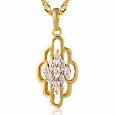 Hot Crystal Ruby Long Chain Pendant+Necklace gold filled flower fashion