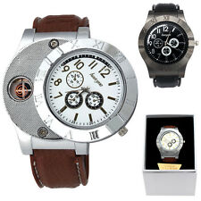 1PC Windproof Casual Military Quartz Watch USB Cigarette Cigar Flameless Lighter