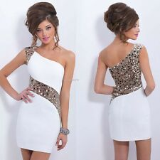 Women Summer Sequins Bodycon One Shoulder Sexy Party Cocktail Evening Mini Dress
