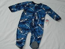 Seattle Seahawks Full Zip One Piece Infant Sizes NFL Team Apparel Creeper Baby
