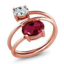 2.01 Ct Red Created Ruby Sky Blue Aquamarine 18K Rose Gold Plated Silver Ring