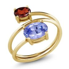 2.10 Ct Oval Blue Tanzanite AAAA Red Garnet 18K Yellow Gold Plated Silver Ring