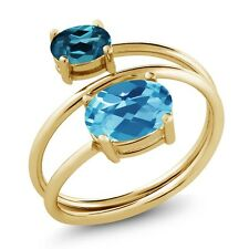 2.30 Ct Oval Swiss Blue and London Blue Topaz 18K Yellow Gold Plated Silver Ring