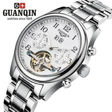 GUANQIN Mens Automatic Mechanical Watch Waterproof Leather/Stainless Strap T6B3